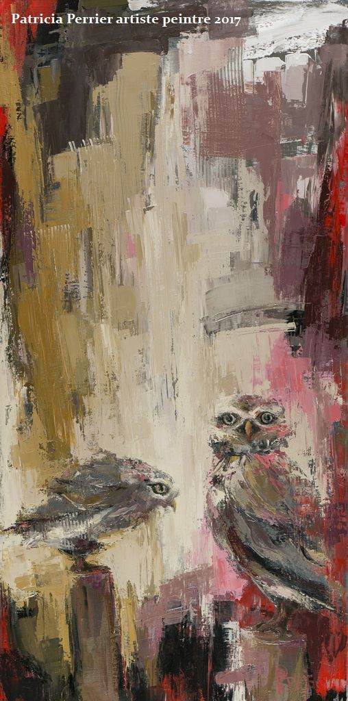 Athene Noctua <p> huile sur toile au couteau de 120 x 60
