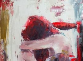 La chaise rouge <p> huile sur toile au couteau de 80 x 40