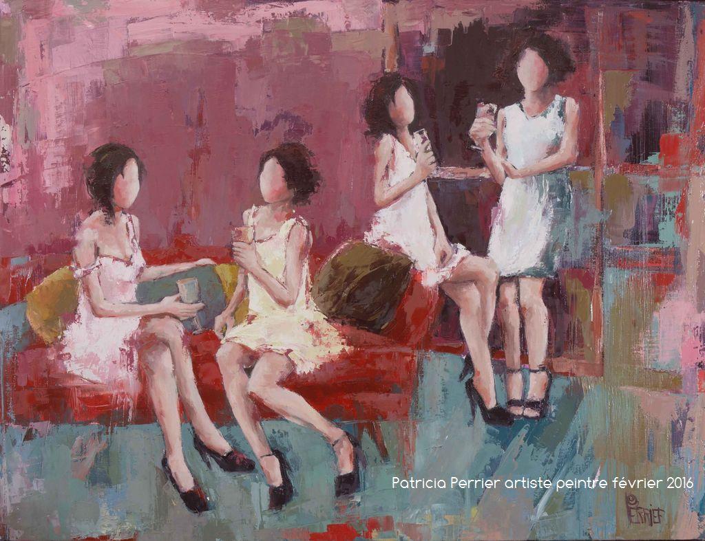 Les petits plaisirs <p> huile sur toile au couteau 83 x 116