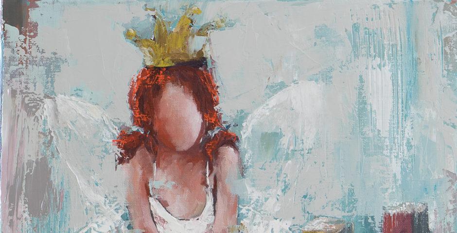 Princesse d'un jour <p> huile sur toile au couteau de 40 x 40