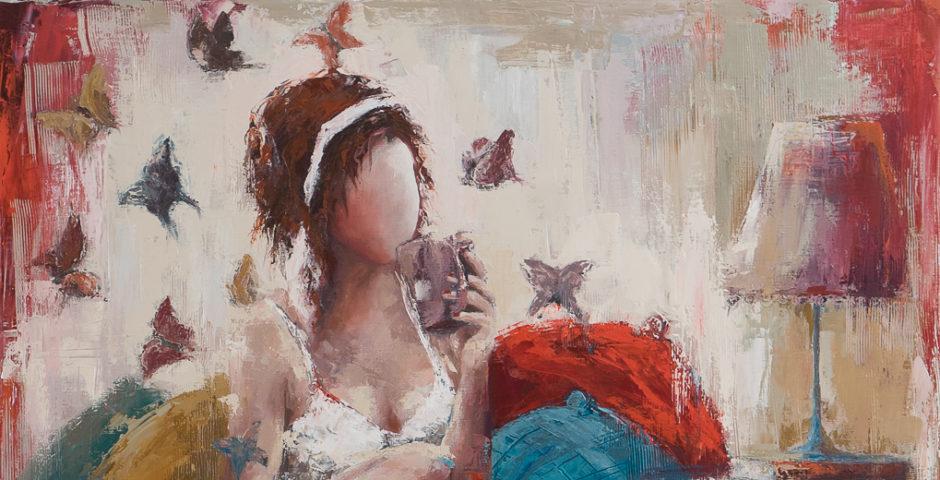 Tuocha nid d'oiseau <p> huile sur toile au couteau de 100 x 100