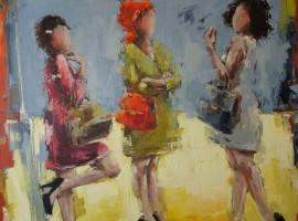 Les filles <p> Huile sur toile au couteau 120 x 120 <p> Patricia Perrier