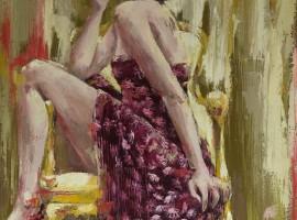 Qui sème... récolte...! <p> huile sur toile au couteau 81 x 65
