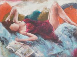 La femme fardée <p> huile sur toile au couteau 80 x 100