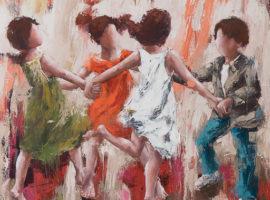 Les âmes joyeuses <p> huile au couteau sur toile de lin de 100 x 100