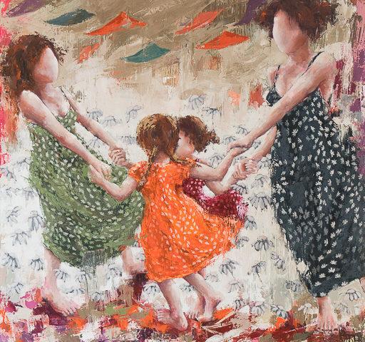 Les grandes soeurs <p> huile au couteau sur toile de lin de 120 x 120