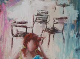 Les petites histoires <p> huile sur toile dau couteau de 116 x 73