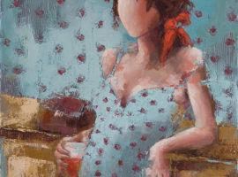 Louise <P> huile au couteau sur toile de lin de 40 x 40