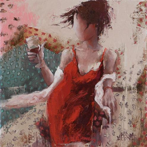 Ma liberté <p> huile au couteau sur toile de 40 x 40