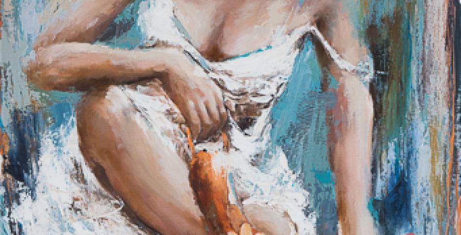 Marche ou rêve <p> huile sur toile au couteau de 90 x 60