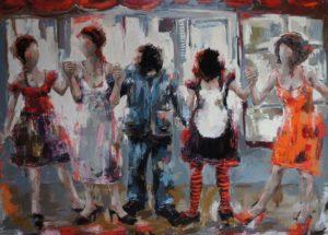 Sous vos aplaudissements <p> Huile sur toile au couteau 150 x 200 <p> Patricia Perrier