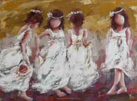 Les petites reines <p> huile sur toile au couteau 80 x 120